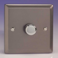 Varilight 1 Gang 1 or 2 Way 400W Push on/off Dimmer Light Switch Pewter/Slate Grey - HR3
